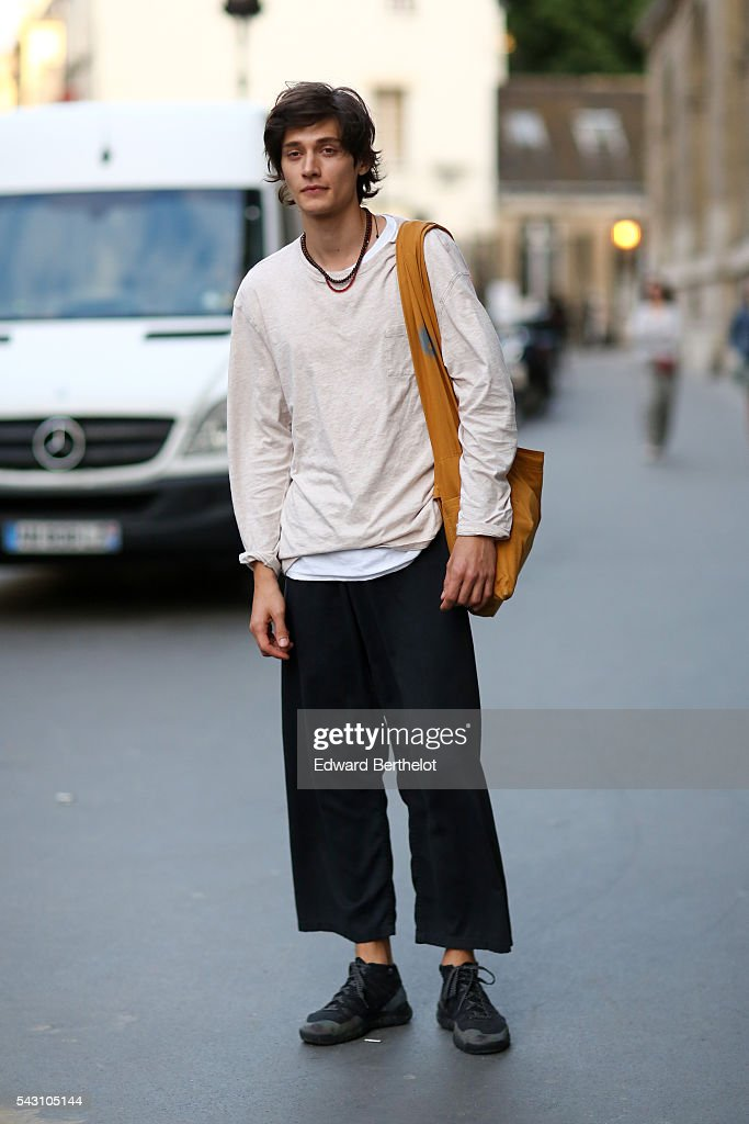 A model is seen, after the Hermes show, during Paris Fashion Week Menswear Spring/summer 2017, on June 25, 2016 in Paris, France.