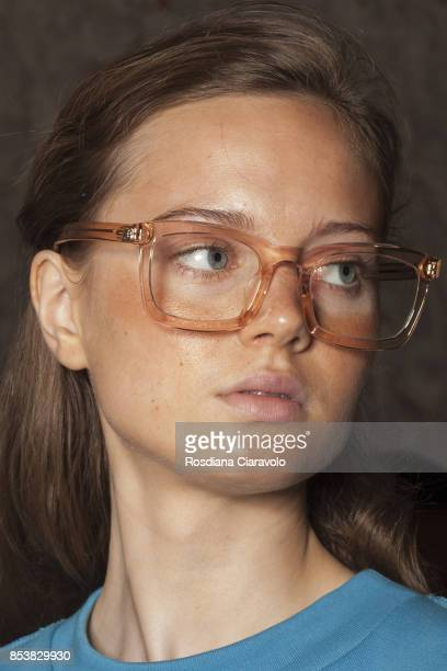 A model is seen ahead backstage of the Au Jour Le Jour show during Milan Fashion Week Spring/Summer 2018 on September 24 2017 in Milan Italy
