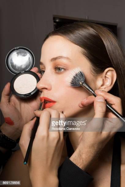 Model is seen ahead of Asya Krasnaya show at Dubai Design District on October 28 2017 in Dubai United Arab Emirates