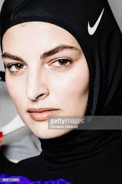 Model is seen ahead of Mashael Alrajhi show at Dubai Design District on October 28 2017 in Dubai United Arab Emirates