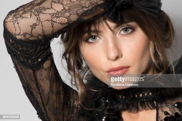 Model is seen ahead of Sara Altwaim show at Dubai Design District on October 27 2017 in Dubai United Arab Emirates