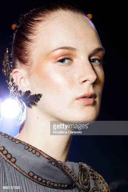 Model is seen ahead of Zareena International show at Dubai Design District on October 28 2017 in Dubai United Arab Emirates