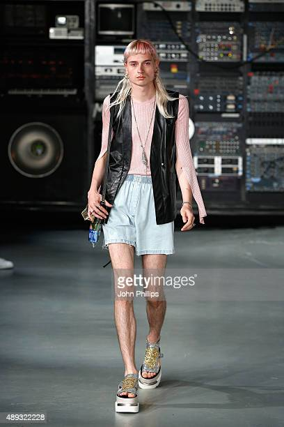 A model is seen at the MM6 Maison Margiela presentation during London Fashion Week Spring/Summer 2016 on September 20 2015 in London England