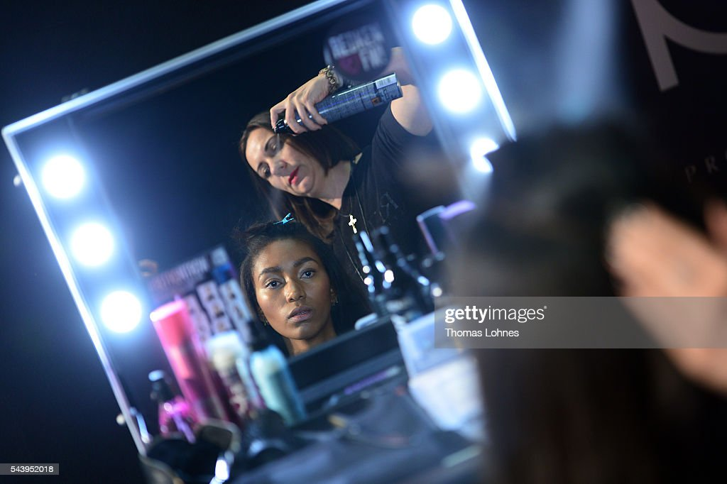 A model is seen backstage ahead of at the Marcel Ostertag show during the Mercedes-Benz Fashion Week Berlin Spring/Summer 2017 at Admiralspalast on June 30, 2016 in Berlin, Germany.