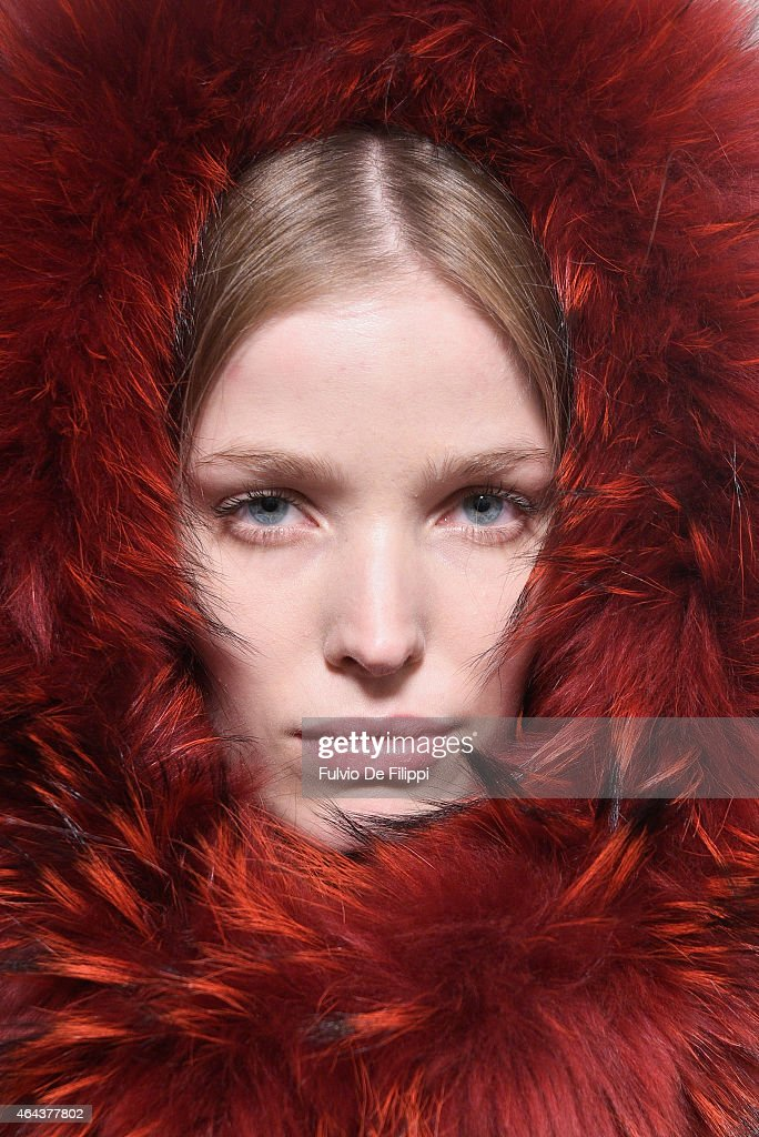 A model is seen backstage ahead of the Alberta Ferretti show during the Milan Fashion Week Autumn/Winter 2015 on February 25 2015 in Milan Italy