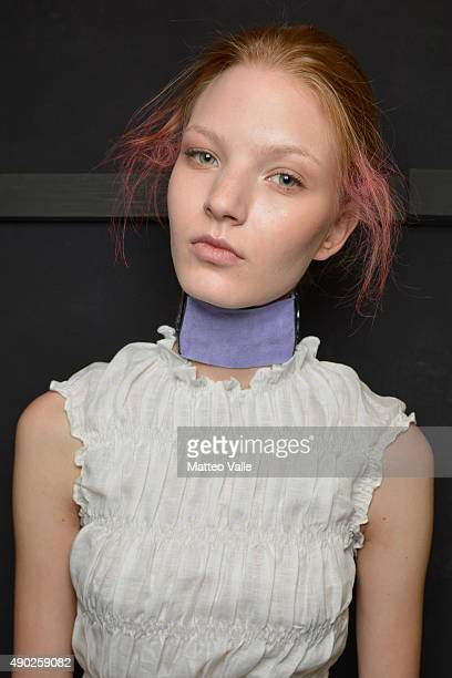Model is seen backstage ahead of the Andrea Incontri show during Milan Fashion Week Spring/Summer 2016 on September 27 2015 in Milan Italy