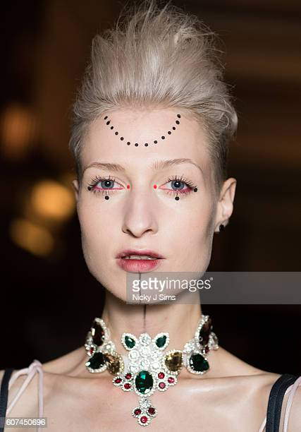 A model is seen backstage ahead of the Angel Chen show at Fashion Scout during London Fashion Week Spring/Summer collections 2017 on September 16...