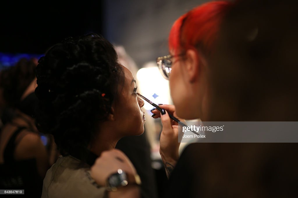 A model is seen backstage ahead of the Anja Gockel show during the Mercedes-Benz Fashion Week Berlin Spring/Summer 2017 at Erika Hess Eisstadion on June 29, 2016 in Berlin, Germany.