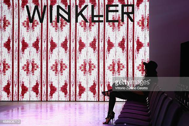 A model is seen backstage ahead of the Annabelle Award during the MercedesBenz Fashion Days Zurich 2014 on November 13 2014 in Zurich Switzerland