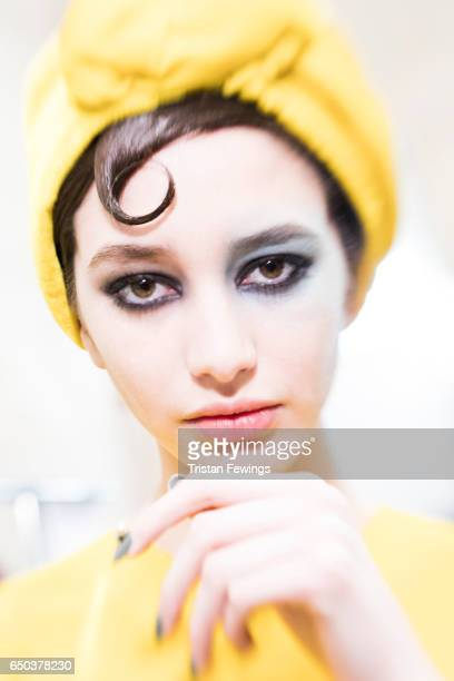 A model is seen backstage ahead of the Antonio Marras show during Milan Fashion Week Fall/Winter 2017/18 on February 25 2017 in Milan Italy