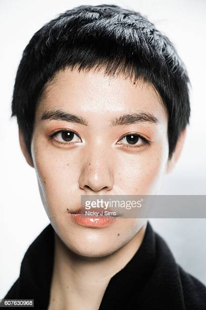 A model is seen backstage ahead of the Apu Jan show at Fashion Scout during London Fashion Week on September 18 2016 in London England