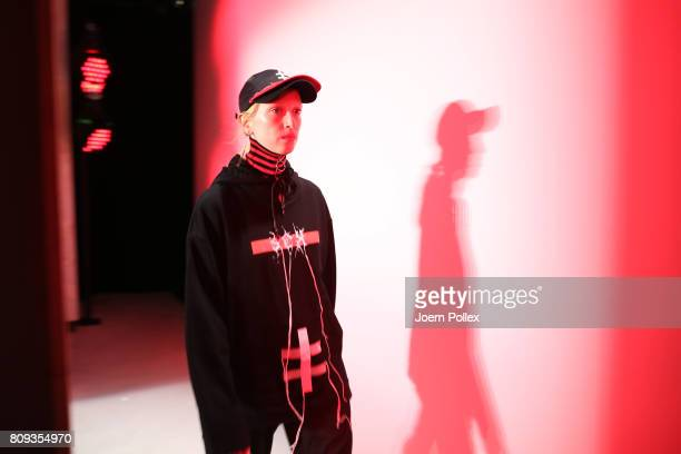 A model is seen backstage ahead of the Atelier About show during the MercedesBenz Fashion Week Berlin Spring/Summer 2018 at Kaufhaus Jandorf on July...