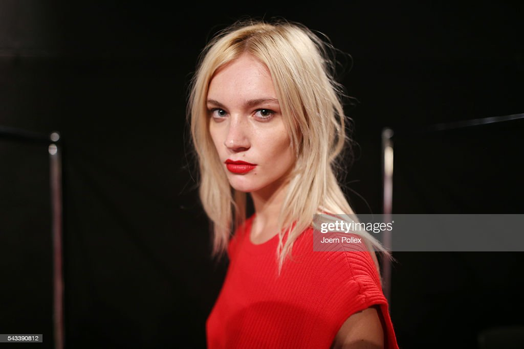 A model is seen backstage ahead of the Avelon show during the Mercedes-Benz Fashion Week Berlin Spring/Summer 2017 at Erika Hess Eisstadion on June 28, 2016 in Berlin, Germany.