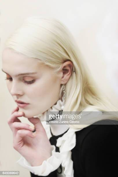 A model is seen backstage ahead of the Blugirl show during Milan Fashion Week Fall/Winter 2017/18 on February 24 2017 in Milan Italy