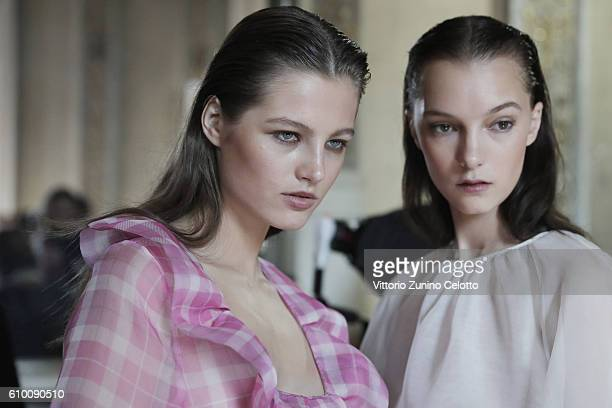 A model is seen backstage ahead of the Blumarine show during Milan Fashion Week Spring/Summer 2017 on September 24 2016 in Milan Italy