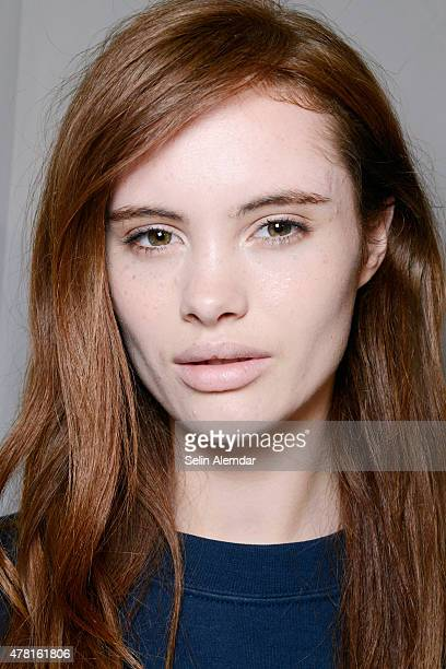 A model is seen backstage ahead of the Christian Pellizzari show during the Milan Men's Fashion Week Spring/Summer 2016 on June 23 2015 in Milan Italy
