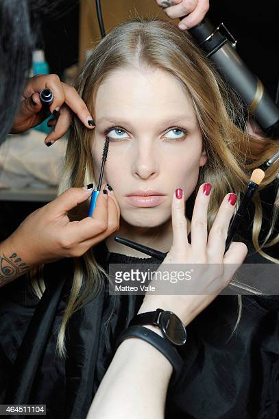 A model is seen backstage ahead of the Costume National show during the Milan Fashion Week Autumn/Winter 2015 on February 26 2015 in Milan Italy