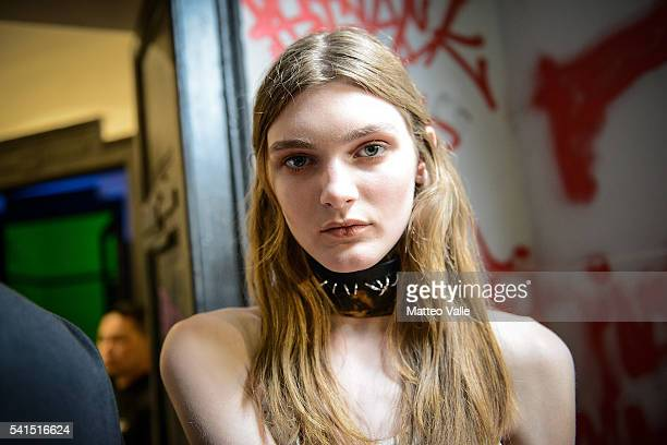 A model is seen backstage ahead of the Damir Doma show during Milan Men's Fashion Week Spring/Summer 2017 on June 19 2016 in Milan Italy