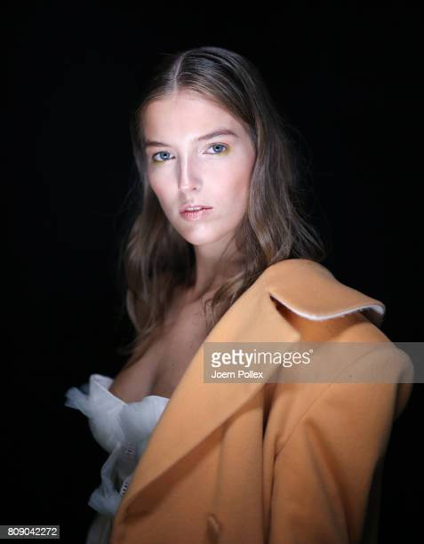 A model is seen backstage ahead of the Danny Reinke show during the MercedesBenz Fashion Week Berlin Spring/Summer 2018 at Kaufhaus Jandorf on July 5...