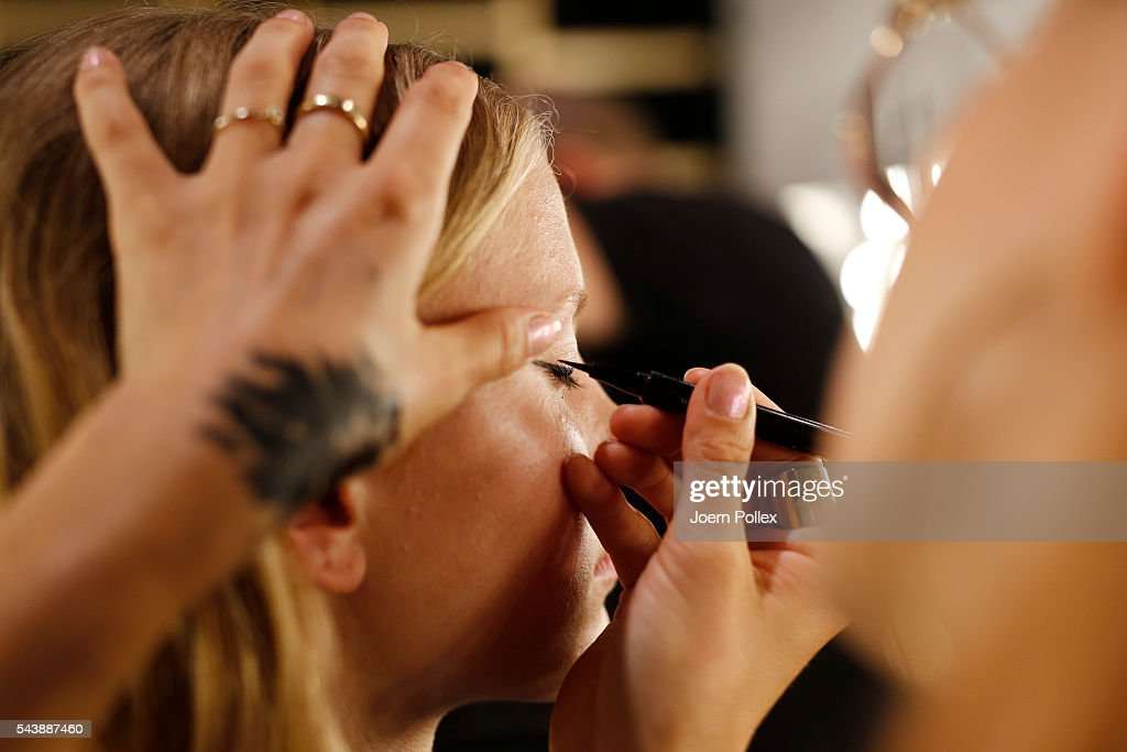 A model is seen backstage ahead of the 'Designer for Tomorrow' show during the Mercedes-Benz Fashion Week Berlin Spring/Summer 2017 at Erika Hess Eisstadion on June 30, 2016 in Berlin, Germany.