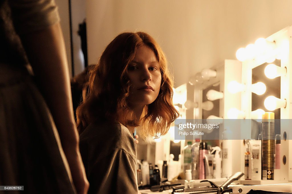 A model is seen backstage ahead of the Dime-Mexico Fashion Design show during the Mercedes-Benz Fashion Week Berlin Spring/Summer 2017 at Stage at me Collectors Room on June 29, 2016 in Berlin, Germany.