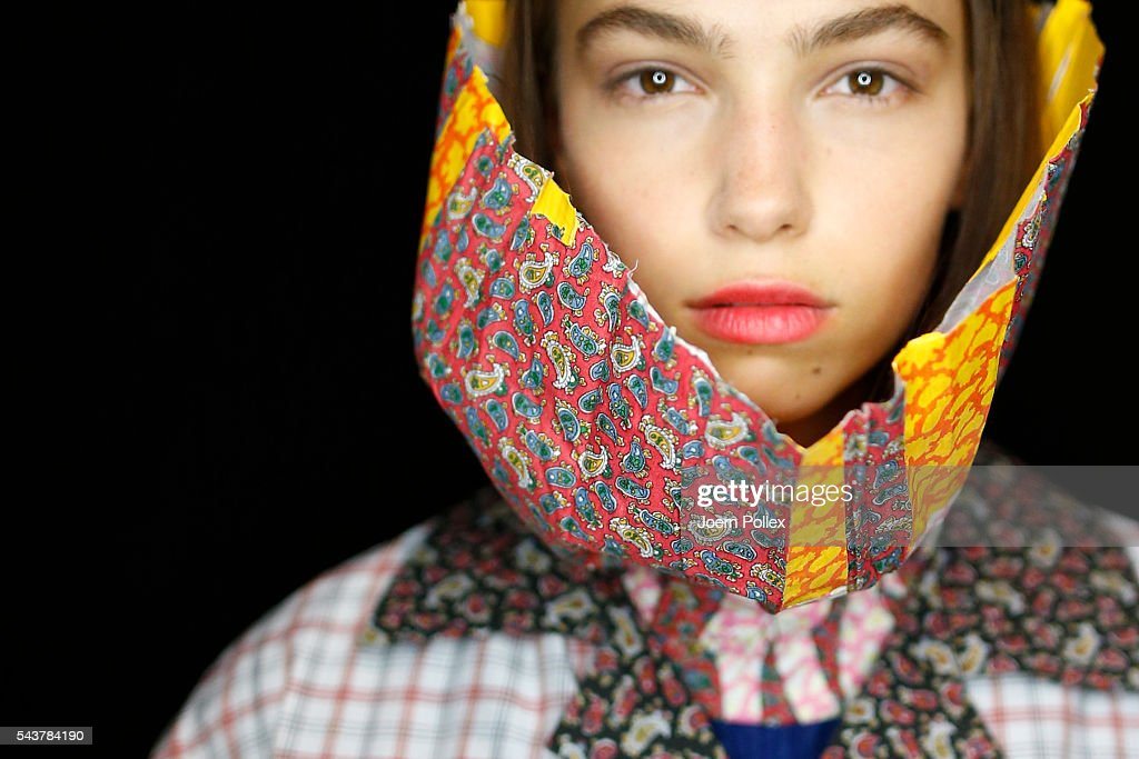 A model is seen backstage ahead of the Dimitri show during the Mercedes-Benz Fashion Week Berlin Spring/Summer 2017 at Erika Hess Eisstadion on June 30, 2016 in Berlin, Germany.