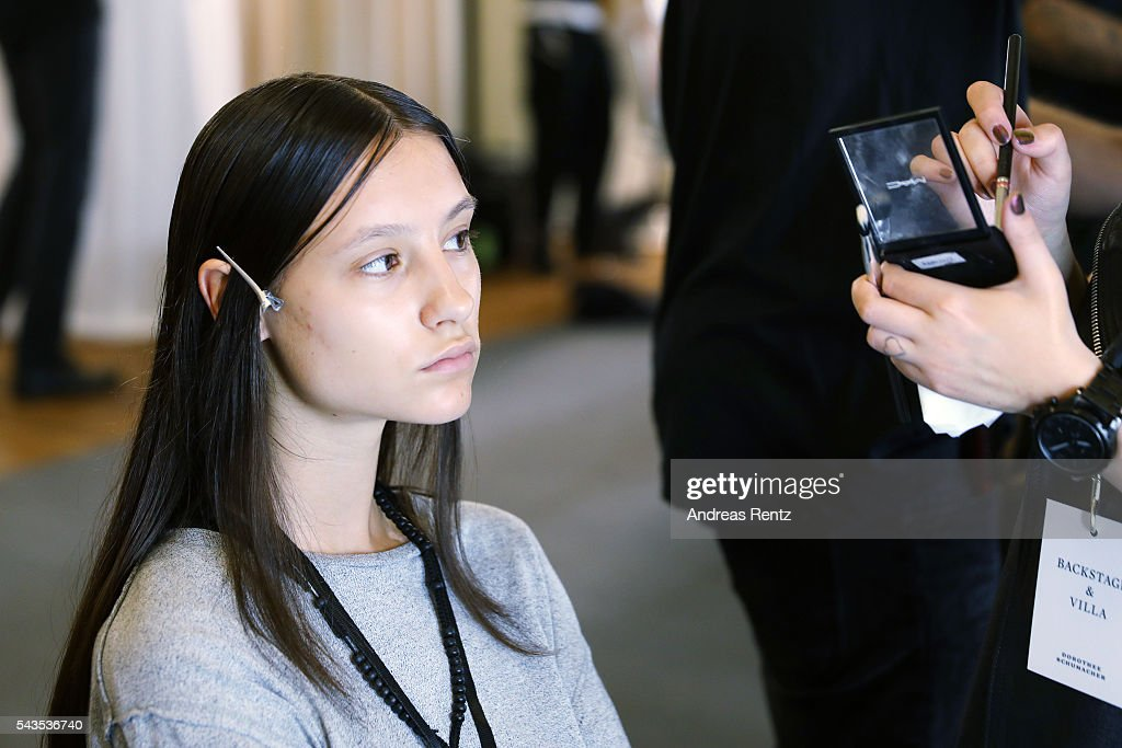A model is seen backstage ahead of the Dorothee Schumacher show during the Mercedes-Benz Fashion Week Berlin Spring/Summer 2017 at Elisabethkirche on June 29, 2016 in Berlin, Germany.