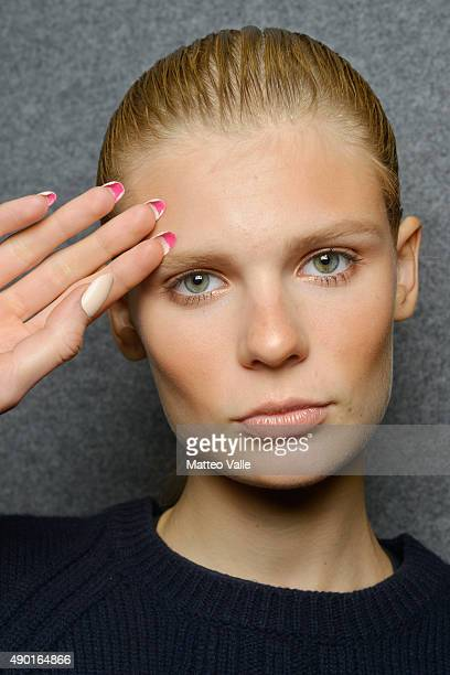 A model is seen backstage ahead of the DSquared2 show during Milan Fashion Week Spring/Summer 2016 on September 26 2015 in Milan Italy