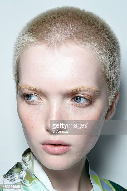 A model is seen backstage ahead of the Etro show during Milan Fashion Week Spring/Summer 2016 on September 25 2015 in Milan Italy