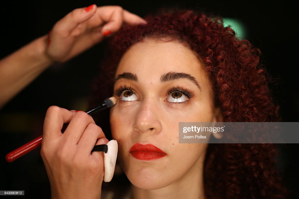 A model is seen backstage ahead of the Ewa Herzog show during the Mercedes-Benz Fashion Week Berlin Spring/Summer 2017 at Erika Hess Eisstadion on June 28, 2016 in Berlin, Germany.