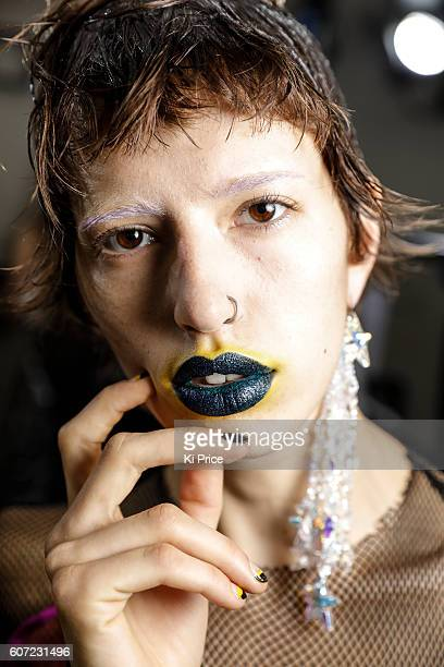 A model is seen backstage ahead of the Fashion East runway show during London Fashion Week Spring/Summer collections 2017 on September 17 2016 in...
