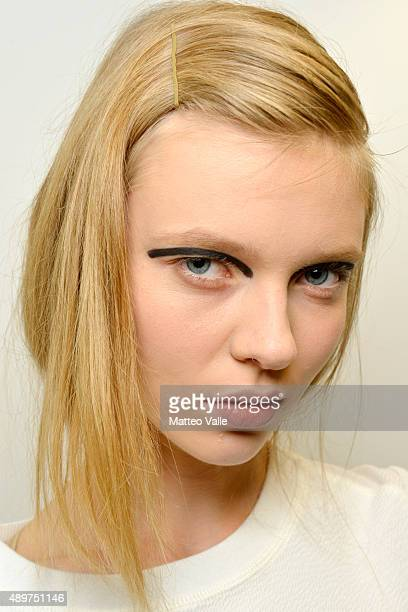 A model is seen backstage ahead of the Fendi show during Milan Fashion Week Spring/Summer 2016 on September 24 2015 in Milan Italy