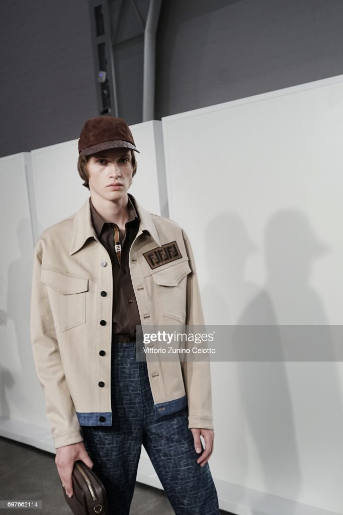 A model is seen backstage ahead of the Fendi show during Milan Men's Fashion Week Spring/Summer 2018on June 19, 2017 in Milan, Italy.