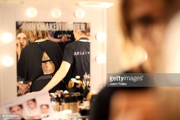 A model is seen backstage ahead of the Franziska Michael show during the MercedesBenz Fashion Week Berlin Spring/Summer 2018 at Kaufhaus Jandorf on...