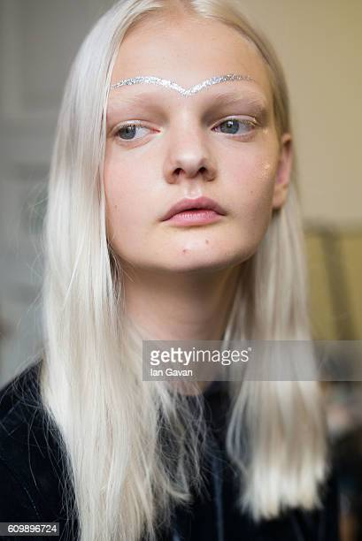 A model is seen backstage ahead of the Giamba show during Milan Fashion Week Spring/Summer 2017 on September 23 2016 in Milan Italy