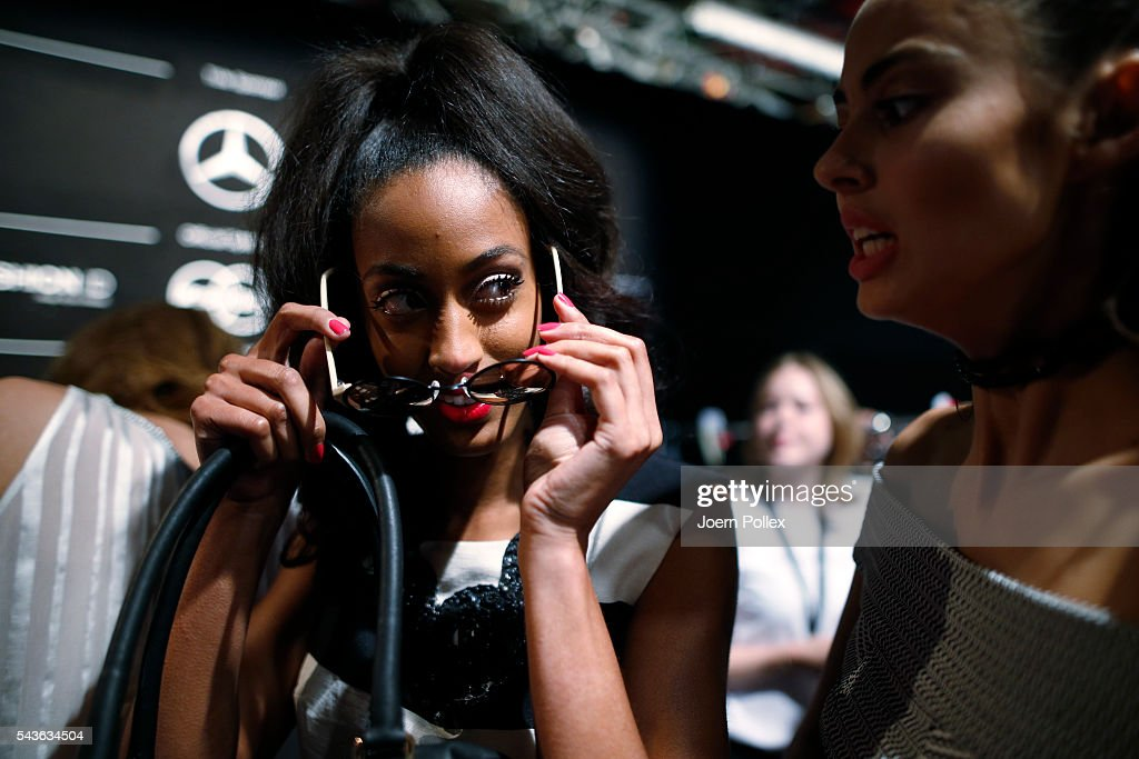 A model is seen backstage ahead of the Guido Maria Kretschmer show during the Mercedes-Benz Fashion Week Berlin Spring/Summer 2017 at Erika Hess Eisstadion on June 29, 2016 in Berlin, Germany.
