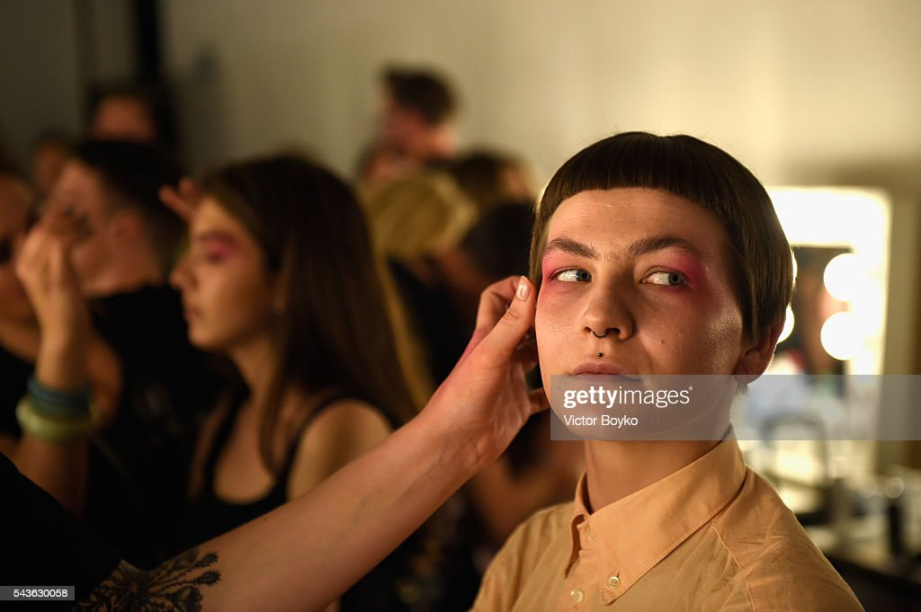 A model is seen backstage ahead of the HFK Bremen (Acht. Graduate Show & Exhibition) show during the Mercedes-Benz Fashion Week Berlin Spring/Summer 2017 at Stage at me Collectors Room on June 29, 2016 in Berlin, Germany.