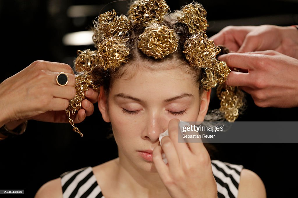 A model is seen backstage ahead of the Irene Luft show during the Mercedes-Benz Fashion Week Berlin Spring/Summer 2017 at Erika Hess Eisstadion on July 1, 2016 in Berlin, Germany.