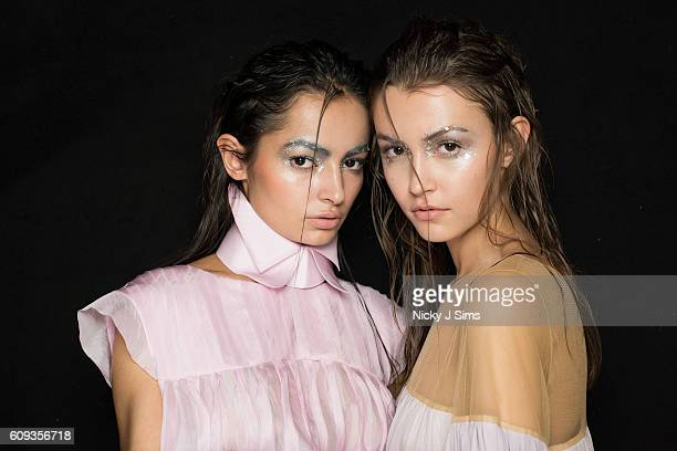 A model is seen backstage ahead of the Irynvigre show at Fashion Scout during London Fashion Week on September 20 2017 in London England