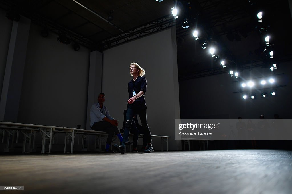 A model is seen backstage ahead of the Ivanman show during the Mercedes-Benz Fashion Week Berlin Spring/Summer 2017 at Stage at me Collectors Room on June 28, 2016 in Berlin, Germany.