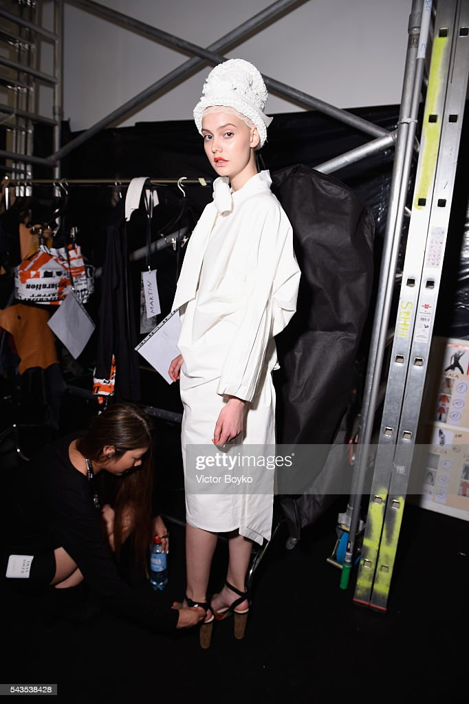 A model is seen backstage ahead of the I'Vr Isabel Vollrath show during the Mercedes-Benz Fashion Week Berlin Spring/Summer 2017 at Stage at me Collectors Room on June 29, 2016 in Berlin, Germany.