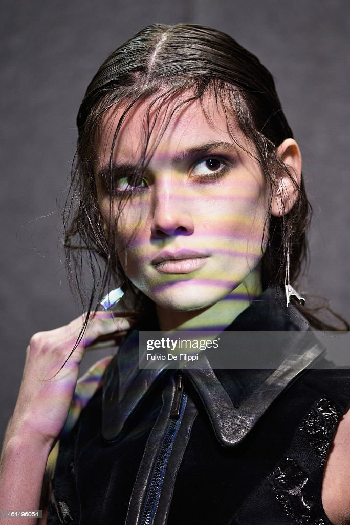 A model is seen backstage ahead of the Just Cavalli show during the Milan Fashion Week Autumn/Winter 2015 on February 26 2015 in Milan Italy