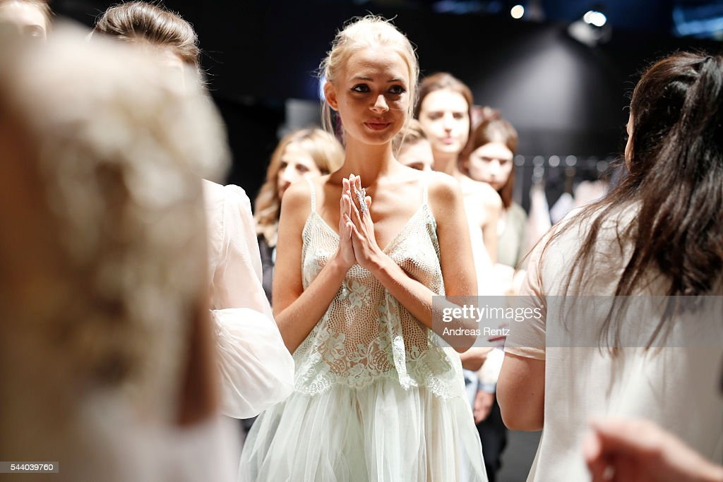 A model is seen backstage ahead of the Lana Mueller show during the Mercedes-Benz Fashion Week Berlin Spring/Summer 2017 at Erika Hess Eisstadion on July 1, 2016 in Berlin, Germany.
