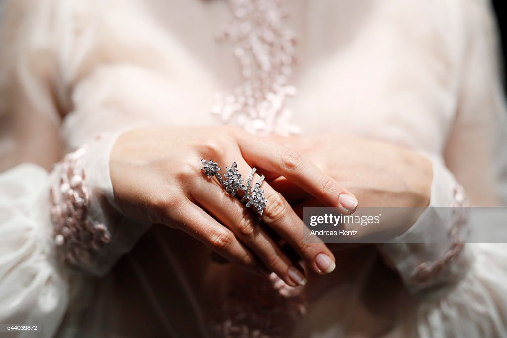 A model (ring detail) is seen backstage ahead of the Lana Mueller show during the Mercedes-Benz Fashion Week Berlin Spring/Summer 2017 at Erika Hess Eisstadion on July 1, 2016 in Berlin, Germany.