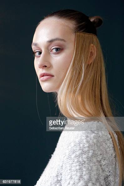 A model is seen backstage ahead of the Lana Mueller show during the MercedesBenz Fashion Week Berlin A/W 2017 at Soho House on January 18 2017 in...
