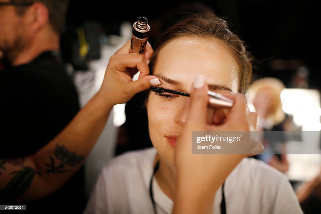A model is seen backstage ahead of the Laurel show during the Mercedes-Benz Fashion Week Berlin Spring/Summer 2017 at Erika Hess Eisstadion on June 29, 2016 in Berlin, Germany.