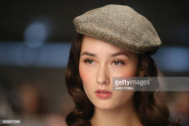 A model is seen backstage ahead of the Lena Hoschek show during the MercedesBenz Fashion Week Berlin Autumn/Winter 2016 at Brandenburg Gate on...