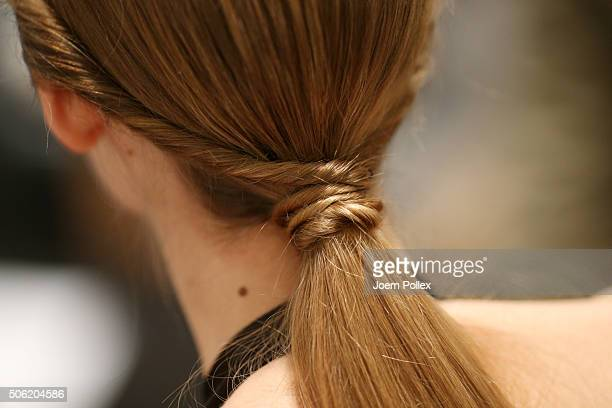 A model is seen backstage ahead of the Maisonnoee show during the MercedesBenz Fashion Week Berlin Autumn/Winter 2016 at Brandenburg Gate on January...