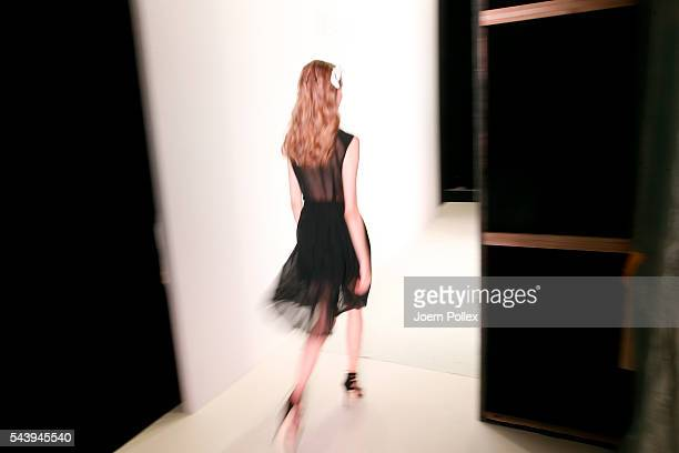 A model is seen backstage ahead of the Maisonnoee show during the MercedesBenz Fashion Week Berlin Spring/Summer 2017 at Erika Hess Eisstadion on...