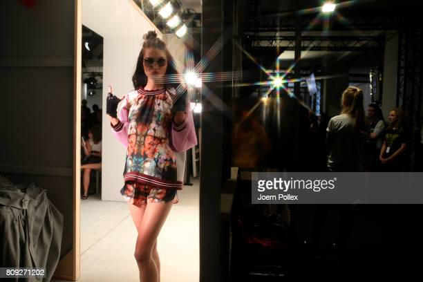 A model is seen backstage ahead of the Maisonnoee show during the MercedesBenz Fashion Week Berlin Spring/Summer 2018 at Kaufhaus Jandorf on July 5...